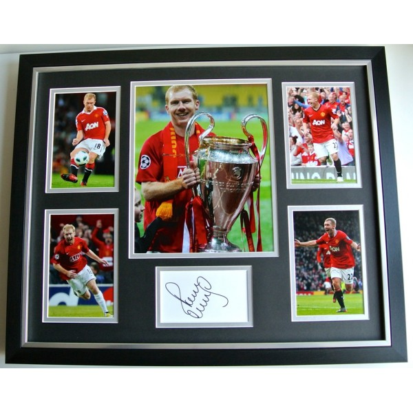 Paul Scholes SIGNED FRAMED Photo Autograph Huge display Manchester United & COA PERFECT GIFT