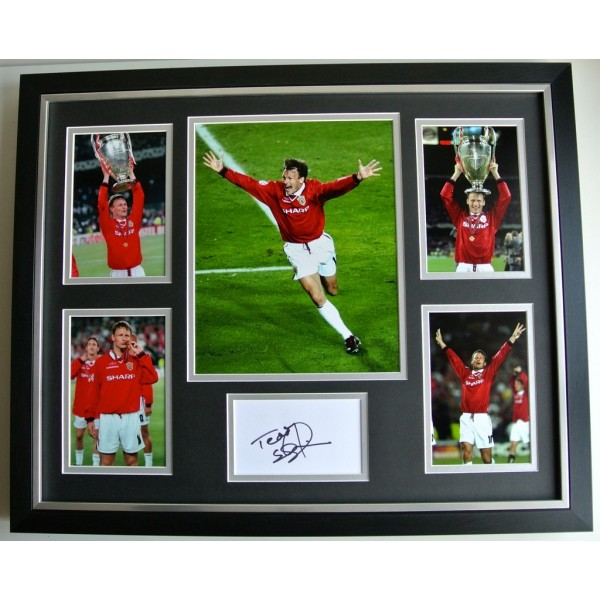 Teddy Sheringham SIGNED FRAMED Photo Autograph Huge display Man United & COA  PERFECT GIFT