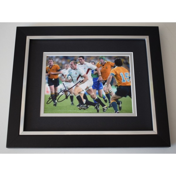 Lawrence Dallaglio SIGNED 10x8 FRAMED Photo Autograph Display Rugby AFTAL  COA Memorabilia