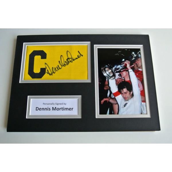 Dennis Mortimer SIGNED Captains Armband A4 Photo Display Aston Villa PROOF & COA AFTAL MEMORABILIA