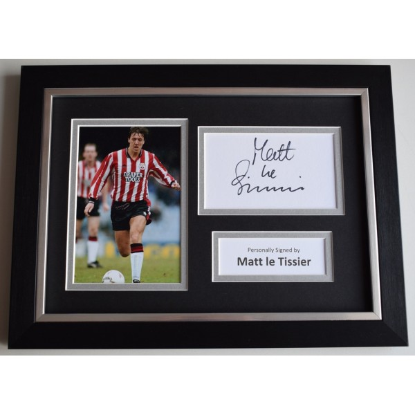 Matt le Tissier Signed A4 FRAMED photo Autograph display Southampton    AFTAL  COA Memorabilia PERFECT GIFT