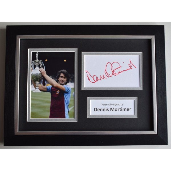 Dennis Mortimer Signed A4 FRAMED photo Autograph display Aston Villa    AFTAL  COA Memorabilia PERFECT GIFT