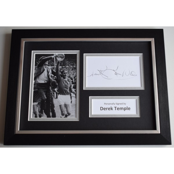 Derek Temple Signed A4 FRAMED photo Autograph display Everton Football    AFTAL  COA Memorabilia PERFECT GIFT
