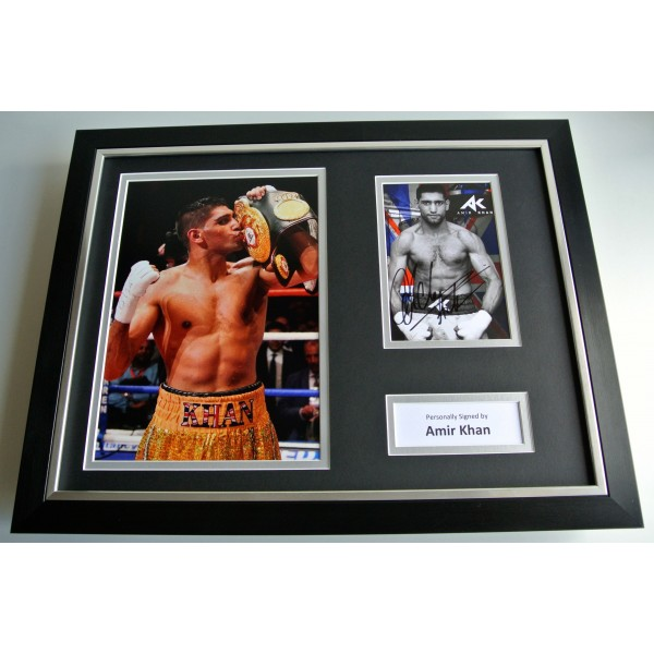 Amir Khan SIGNED FRAMED Photo Autograph 16x12 display Boxing Memorabilia COA