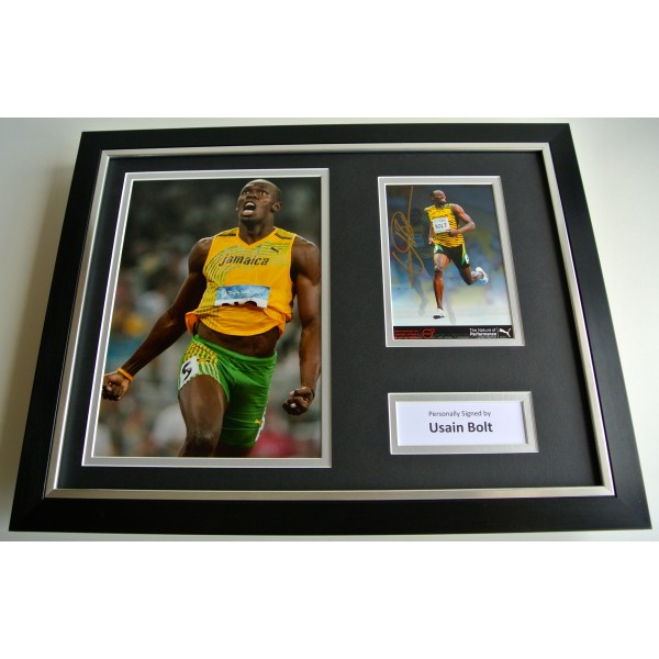 Usain Bolt SIGNED FRAMED Photo Autograph 16x12 display Olympics Athletics & COA