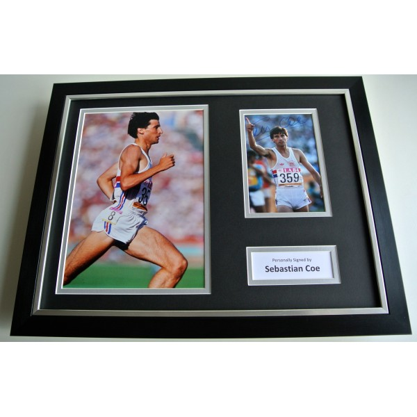 Sebastian Coe SIGNED FRAMED Photo Autograph 16x12 display Olympics Athletics COA