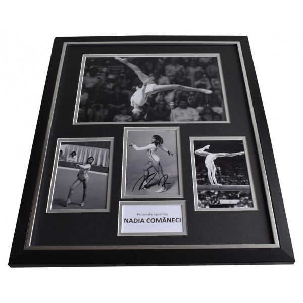 Nadia Comaneci SIGNED Framed Photo Autograph Huge display Olympics Montreal 1976  AFTAL & COA Memorabilia PERFECT GIFT