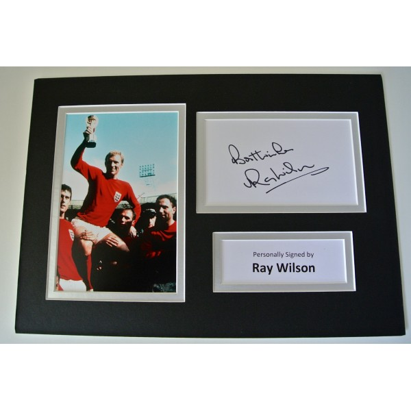 Ray Wilson SIGNED autograph A4 Photo Mount Display England football COA