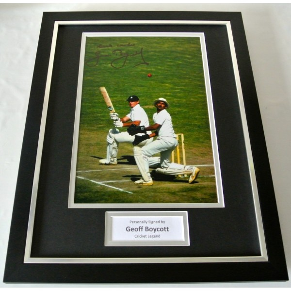 Geoff Geoffrey Boycott SIGNED FRAMED Photo Autograph 16x12 display Cricket COA    PERFECT GIFT