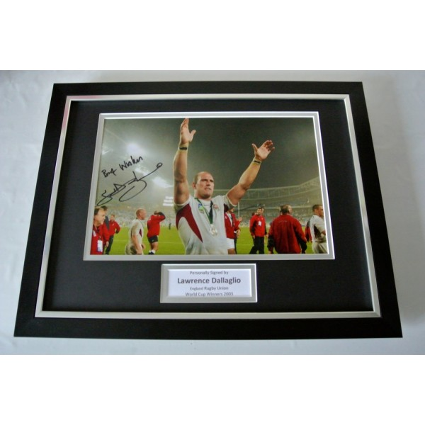 Lawrence Dallaglio SIGNED FRAMED Photo Autograph 16x12 display England Rugby COA         PERFECT GIFT