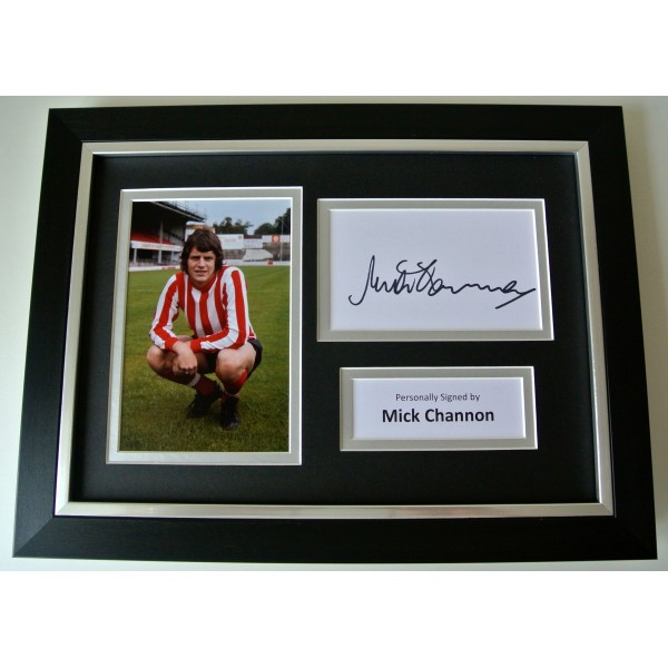 Mick Channon SIGNED A4 FRAMED Photo Mount Autograph Display Southampton & COA CLEARANCE SALE