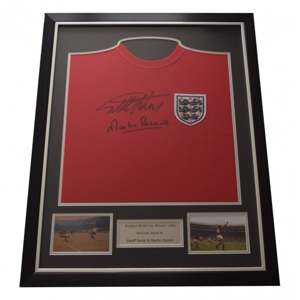Geoff Hurst & Martin Peters SIGNED FRAMED Shirt Photo Autograph England   AFTAL & COA Memorabilia PERFECT GIFT