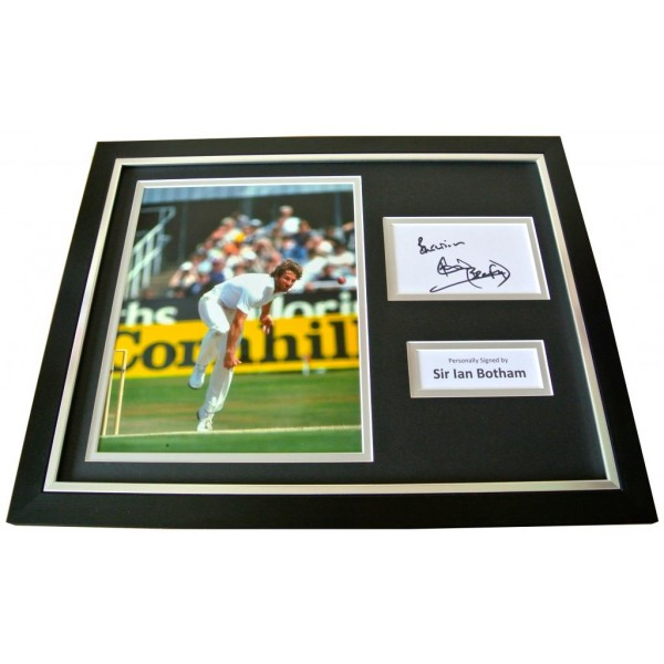 SIR IAN BOTHAM Signed Framed Photo Display AUTOGRAPH England Cricket Ashes & COA    PERFECT GIFT