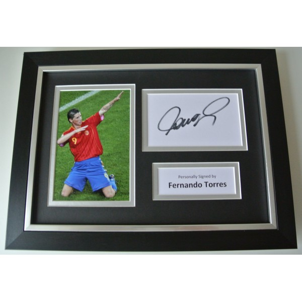 Fernando Torres SIGNED A4 FRAMED Photo Autograph Display Spain Football & COA
