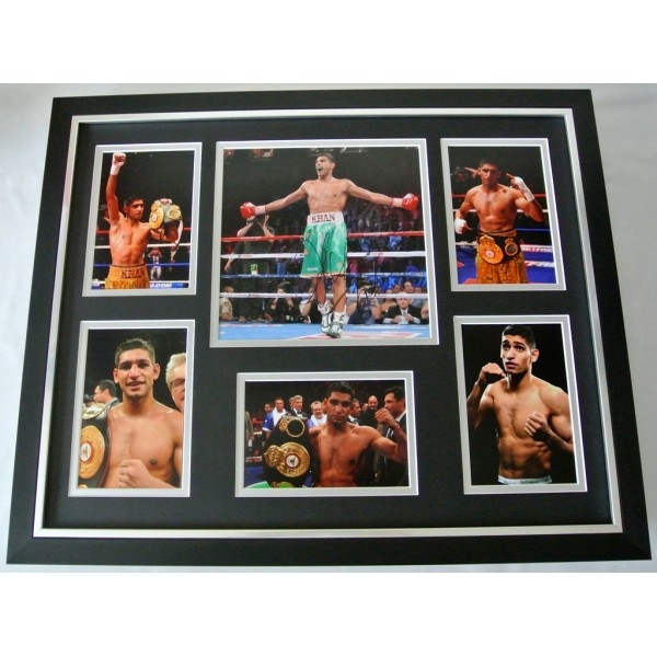 Amir Khan SIGNED FRAMED Huge Photo Autograph display Boxing Champion & COA            PERFECT GIFT