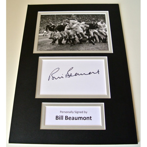 Bill Beaumont Signed Autograph A4 photo mount display England Rugby PROOF COA