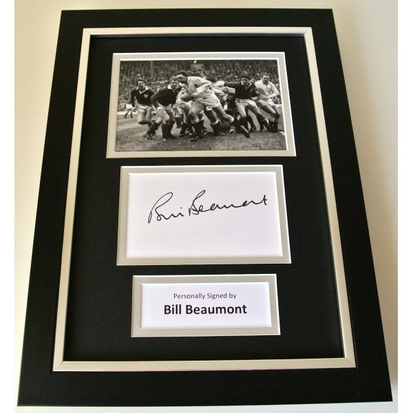 Bill Beaumont Signed A4 FRAMED photo Autograph display England Rugby PROOF & COA