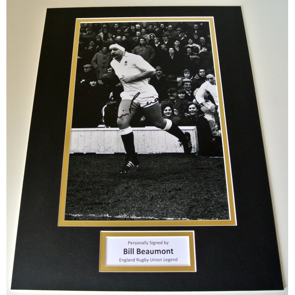 Bill Beaumont Signed Autograph 16x12 photo mount display England Rugby PROOF COA