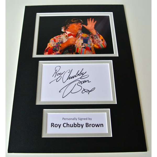 Roy Chubby Brown Signed Autograph A4 photo mount display TV Rude Comedy & COA