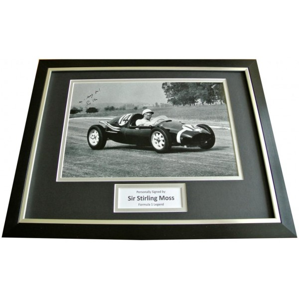 SIR STIRLING MOSS Signed FRAMED Photo Autograph Display F1 & Inscription & COA  PERFECT GIFT