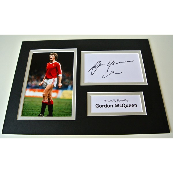 Gordon McQueen Signed Autograph A4 photo mount display Manchester United & COA CLEARANCE SALE