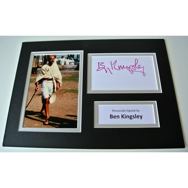 Ben Kingsley Signed Autograph A4 photo mount display Ghandi Film Actor & COA
