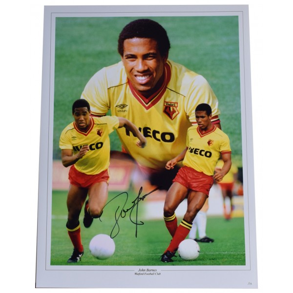 John Barnes SIGNED autograph 16x12 HUGE photo Watford Football   AFTAL  COA Memorabilia CLEARANCE