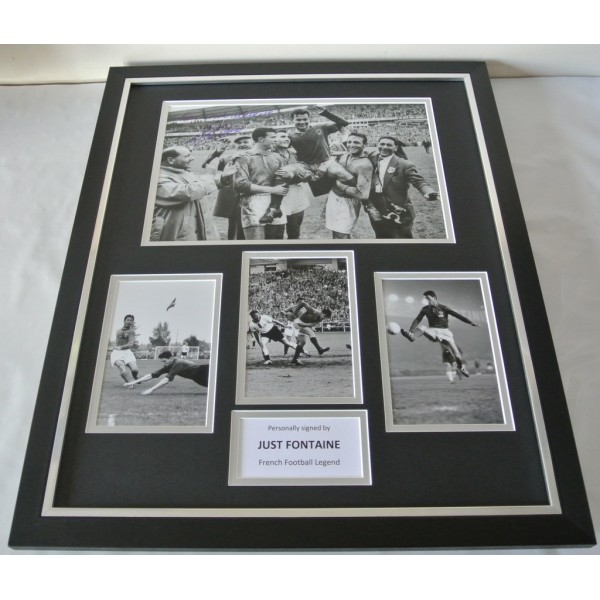Just Fontaine SIGNED FRAMED Huge Photo Autograph display France Football & COA   PERFECT GIFT