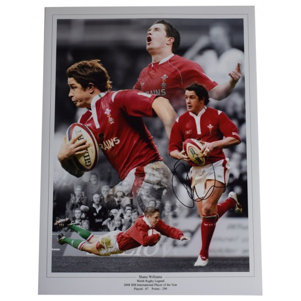 Shane Williams SIGNED autograph 16x12 HUGE photo Wales Rugby Union  AFTAL  COA Memorabilia PERFECT GIFT
