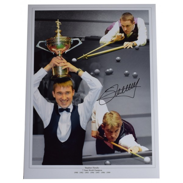 Stephen Hendry SIGNED autograph 16x12 HUGE photo Snooker AFTAL  COA Memorabilia CLEARANCE