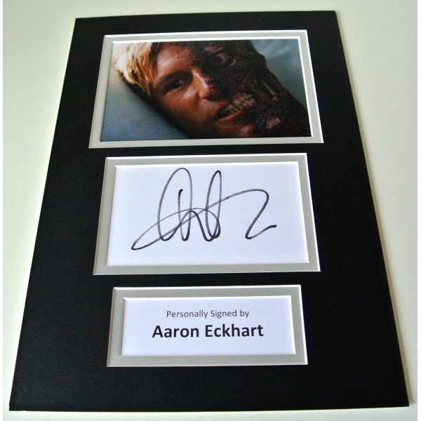 Aaron Eckhart Signed Autograph A4 photo mount display Dark Knight Rises Film COA
