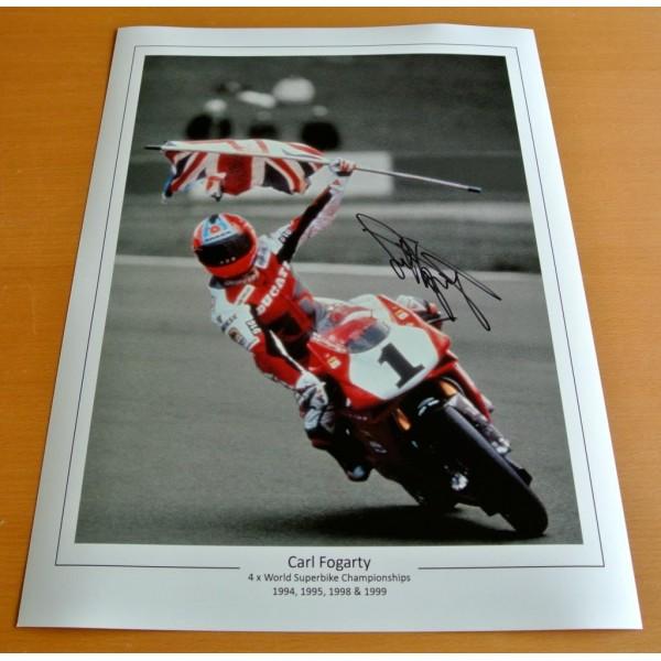 CARL FOGARTY SIGNED 16x12 Photo Autograph Superbikes Memorabilia See PROOF & COA PERFECT GIFT