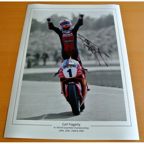 CARL FOGARTY SIGNED 16x12 Photo Autograph Superbikes Memorabilia See PROOF & COA PERFECT GIFT