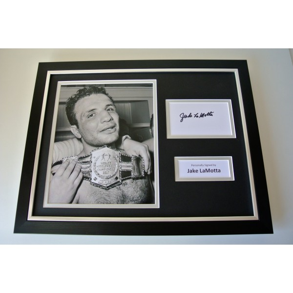 Jake LaMotta SIGNED FRAMED Photo Autograph 16x12 display Boxing Memorabilia COA