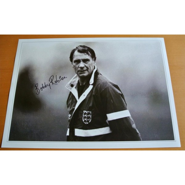 BOBBY ROBSON SIGNED 16x12 Photo Autograph ENGLAND MANAGER Memorabilia & COA   PERFECT GIFT