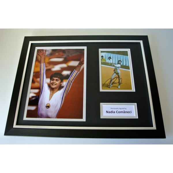 Nadia Comaneci SIGNED FRAMED Photo Autograph 16x12 display Olympic Gymnastic COA