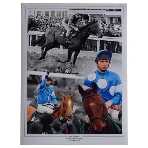 Peter Scudamore SIGNED autograph 16x12 HUGE photo Horse Racing Jockey  AFTAL  COA Memorabilia PERFECT GIFT