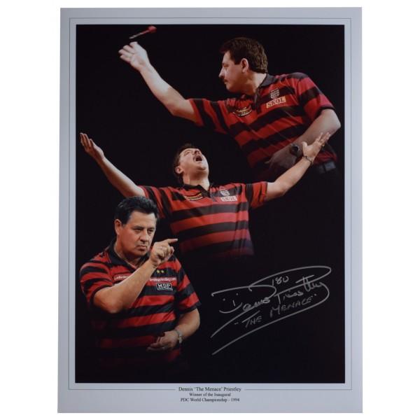 Dennis Priestley Signed autograph 16x12 HUGE photo Darts Sport  AFTAL  COA Memorabilia PERFECT GIFT