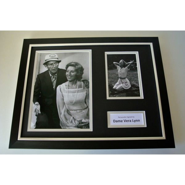 Vera Lynn SIGNED FRAMED Photo mount Autograph 16x12 display WW2 Music COA