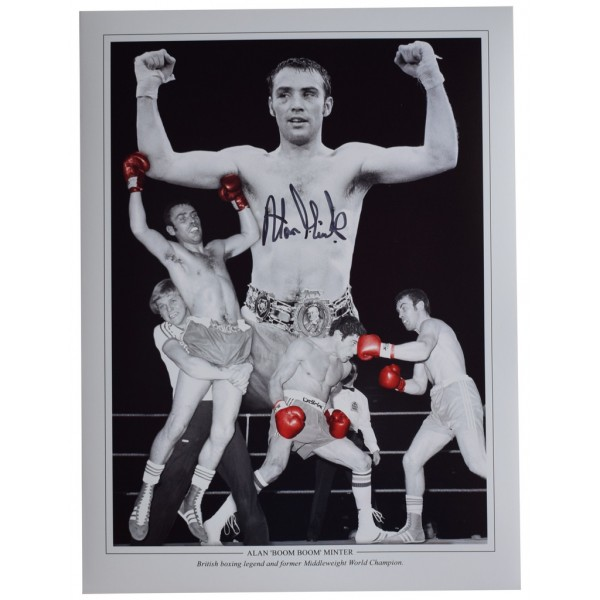Alan Minter Signed autograph 16x12 HUGE photo Boxing Sport AFTAL  COA Memorabilia PERFECT GIFT