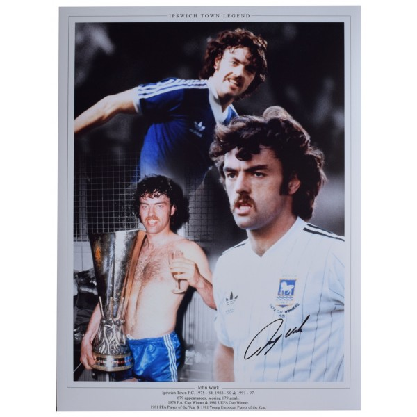 John Wark SIGNED autograph 16x12 HUGE photo Ipswich Town Football  AFTAL  COA Memorabilia PERFECT GIFT