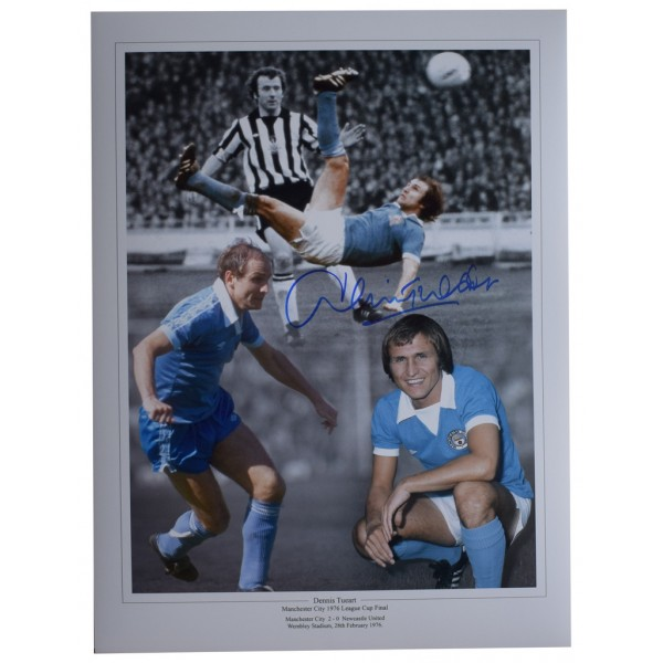 Dennis Tueart SIGNED autograph 16x12 HUGE photo Manchester City Football  AFTAL  COA Memorabilia PERFECT GIFT