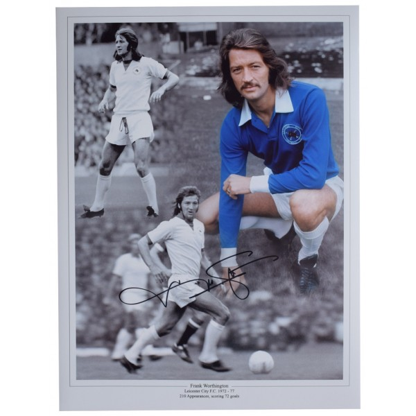 Frank Worthington SIGNED autograph 16x12 HUGE photo Leicester City Football AFTAL  COA Memorabilia PERFECT GIFT