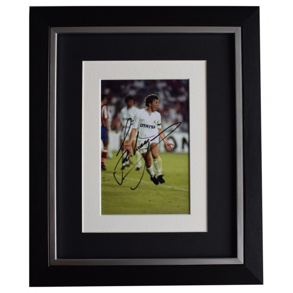 Emilio Butragueno SIGNED 10x8 FRAMED Photo Autograph Display Real Madrid   AFTAL  COA Memorabilia PERFECT GIFT