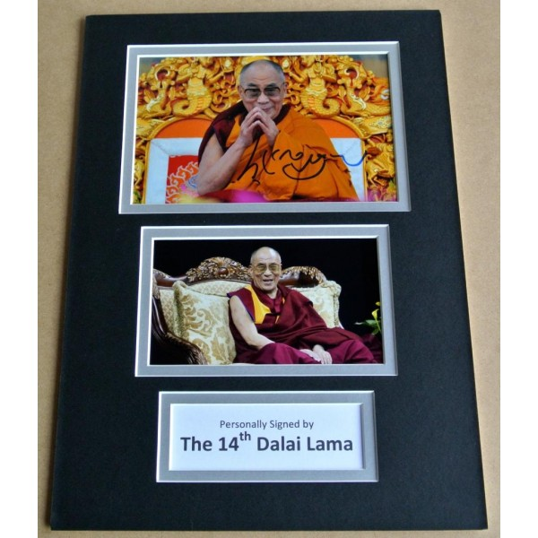DALAI LAMA SIGNED autograph A4 Photo Mount Display TENZIN GYATSO COA Memorabilia PERFECT GIFT