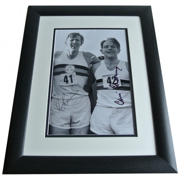 Roger Bannister & Chataway SIGNED FRAMED Photo Autograph 16x12 Huge display COA PERFECT GIFT