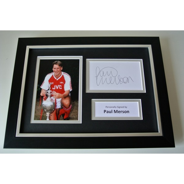 Paul Merson SIGNED A4 FRAMED Photo Autograph Display Arsenal Football & COA