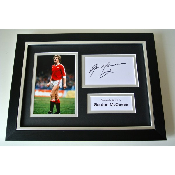 Gordon McQueen SIGNED A4 FRAMED Photo Autograph Display Manchester United & COA