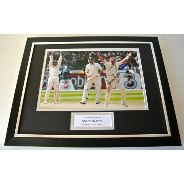 Shane Warne SIGNED FRAMED Photo Autograph 16x12 display Australia PROOF Cricket