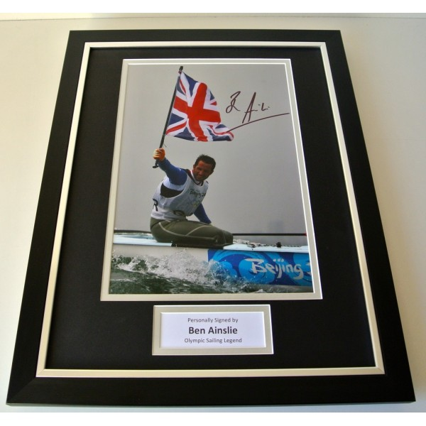 Ben Ainslie SIGNED FRAMED Photo Autograph 16x12 display Olympic Sailing & COA